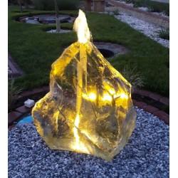 FONTANNA OGRODOWA z kamienia naturalnego BRYŁA SZKLANA LED